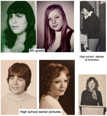 Marianne and Darlene in 8th grade and High School